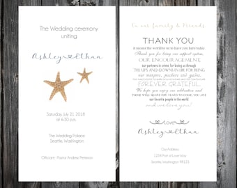 Beach Starfish Wedding Ceremony Programs- Price includes printing