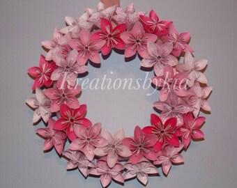 Origami Paper Flower Wreath / Wedding/ Birthday/ Table Centerpiece/ Baby Shower/ Nursery/ Bridal Shower