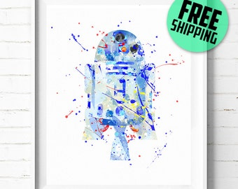 Star Wars R2-D2 print, Star Wars poster, r2d2 poster, Star Wars art, R2D2 art, Star Wars wall art, watercolor, abstract, [167] home decor