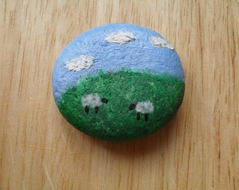 Handpainted Pebble. Countryside Sheep Scene.