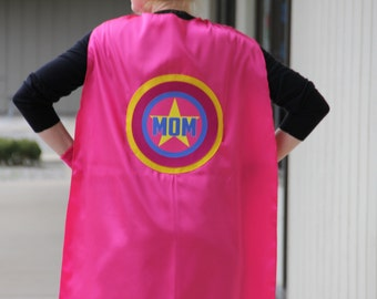 Personalized MOM or DAD SUPERHERO Cape - Adult Super Hero Cape - Ships Fast - Perfect Super Hero Capes for Men and Women