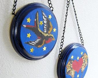 Wall Hanging, Tattoo Art, Original Collage, Cobalt Blue, Round, Wood, Black Chain, Blue, Red, Gold, Heart, Swooping Swallow, Bird