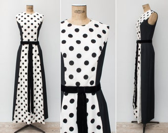 1960s Dress - Vintage 60s Black White Velvet Polka Dot Maxi Dress Gown - Mi Fiesta Dress