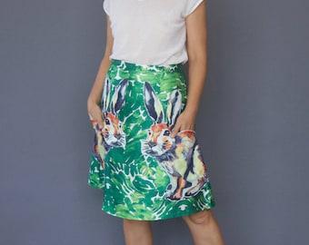 Harajuku style rabbit skirt Vintage style skirt Appliqué bunny rabbit A line skirt Green printed skirt Hand print style skirt Cut-out skirt