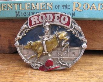 Vintage Rodeo Pewter Belt Buckle, Siskiyou 1985 Rodeo Belt Buckle, Bull Rider Men's Accessory, Cowboy Western Belt Buckle, Gifts for Him