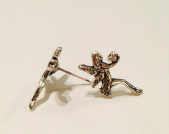 Fairy stud earrings, made in dull silver color.