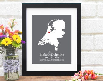 Amsterdam Wedding Gift, Personalized Netherlands Map Art, Belated Gift for Newlyweds, First Anniversary Gift, Engaged Gift - Art Print