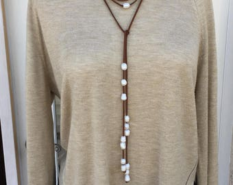Pearl and Brown suede necklace, Brown and white, Long necklace Lariat, Gift for her, Everyday use, Valentines Gift, Adjustable necklace