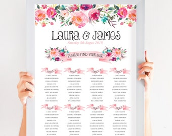 Peony Rose Pink Floral Table Plan, Personalized Wedding Seating Chart, Seating Arrangements, Boho Festival A2 Size
