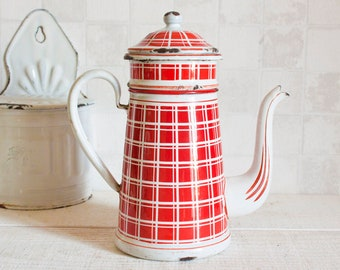 Antique French White and Red Plaid Enamel Coffee Pot || French Vintage Enamalware - Home Decor - Country Style - Shabby Chic