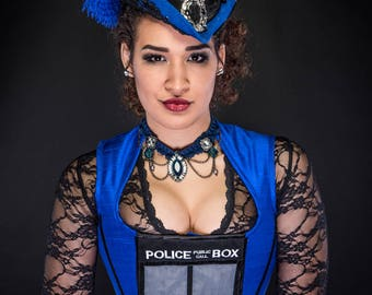 READY to SHIP Police Box Corset Vest - Steampunk Overbust - Tardis Dr. Who Cosplay Costume SIZE Medium