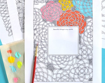 5 Printable Feel Good Journal Prompt Colouring Pages