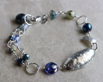 Fish Charm Bracelet, with Czech Glass Blue Green Glass Beads, Sterling Silver Lobster Clasp Double Strand Boho Bracelet