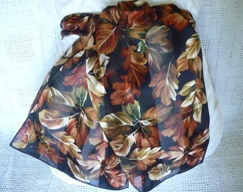 Echo Women's Scarf.  Head Wrap.  Leaf pattern.  Rich black, browns, tans, greens.  100% Silk.