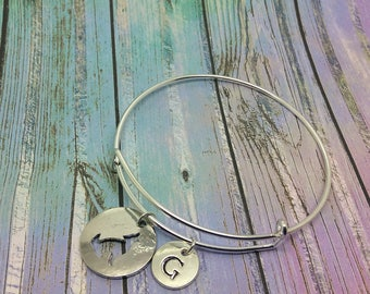 Silhouette Wolf charm bracelet, Howling wolf pendant, Personalised Jewelry, wolf bangle, jewellery, Initial necklace, wolf charm, wolf cuff