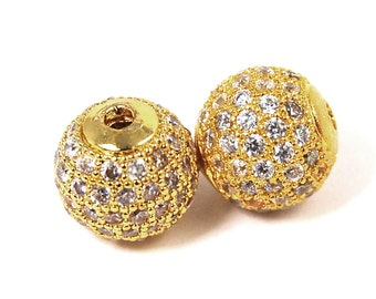 Clear Crystal Gold Cubic Zirconia Beads, 8mm Round