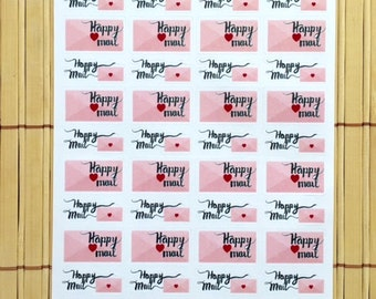 S154 - 40 Hand-scripted Happy Mail Semi-Gloss Planner Stickers