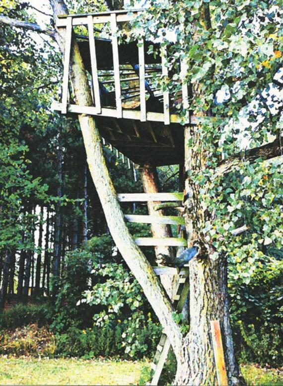 original tree house art print, watercolor painting, green trees, nature photography art, tree houses, digital paintings, michigan, wall art,