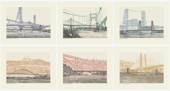 Portland Color Bridge Art prints // All 12 City Bridges // Art Print // Wall art // Oregon Art // Bridgetown // 8.5x 11 Bridge Series