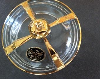 22 Ct gold trimmed/Gail Styn/mid century modern Hollywood regency/bowl/trinkets/jewelry holder/women/gift