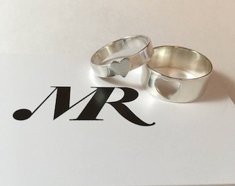Couple of rings with hearts. Silver rings. Ring with heart. Rings for couples. Handmade.