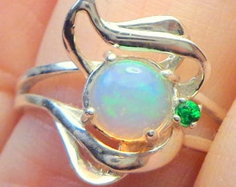 Welo Opal Ring,Natural Gemstone,Semi-Transparent,Genuine Opal Ring,Blue,Yellow,Peach,Lavender,Green Opal,Ethiopian Opal, Emerald Accent