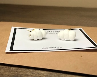 Small White Seashell Earrings Handmade from Polymer Clay