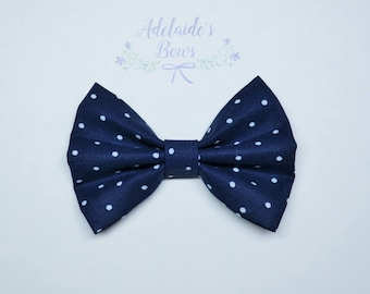 Navy dotted Hair Bow
