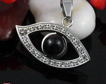 Clearance-Black Evil Eye Stainless Steel Pendant