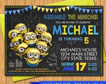 Minion invite Etsy