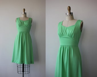 1960s vintage dress / 60s lime green sun dress / 60s green sleeveless dress / 1960s sundress / size xs s small