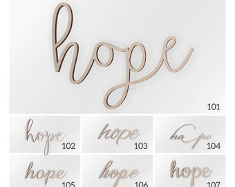 Wooden Connected Word Hope