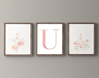 Letter U | Nursery Print | Nursery Art | Alphabet | Instant Download | Digital Print | Wall Art | Baby Girl | Initials | Pink | Watercolor
