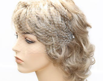 Grey Crystal Bandeau Style Veil French Net Blusher Simple Soft Birdcage Veil Hat Net Face Veil On Hair Pins