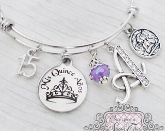 Quinceanera GIFT, 15th Birthday Gift, Letter Bangle Bracelet, Personalized Jewelry- Mis Quince Anos, Jewelry- Crow-Number 15-Guardian Angel