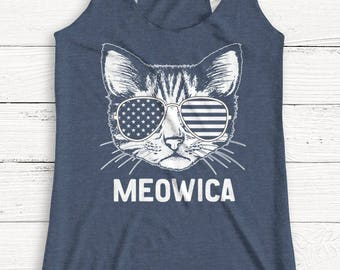 Meowica Tank - 4th of July Shirt - USA - America - Cat - Animals - Independence - Tank Top - Patriotic - Alcohol - Graphic Tee - Summer