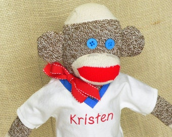 Personalized Sock Monkey - Rockford Red Heel Sock