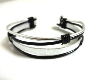 Handmade bracelet cuff mixed Black/Silver - Aluminum-