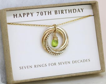 70th birthday gift, August birthstone necklace 70th, peridot necklace for 70th birthday, gift for grandmother, mom - Lilia
