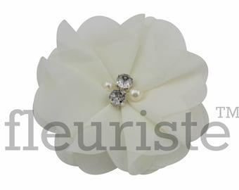 IVORY Chiffon Flower, Wholesale Flower, Fabric Flower, Headband Flower, Wedding Flower, Flower Embellishment, Diy Flower, DIY Headband