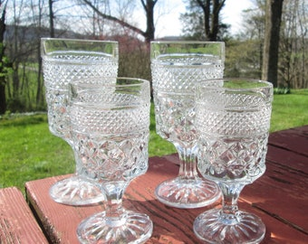 Four Vintage Wexford Goblets - Wexford Stemmed Water Glasses - Two Large 8oz and Two Small 4oz - Anchor Hocking Glassware