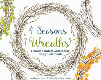 Watercolor clipart, wreath clipart, branches clipart, leaves clipart, digital clipart, fall clipart, floral clipart, seasons clipart, winter