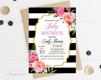 Baby Shower Invitation, Floral Baby Shower Invitations, Striped Baby Shower Invitation, PERSONALIZED, Digital file, #A02