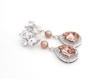 Blush Bridal Earrings, Blush Wedding Earring, Champagne Bridal Earring, Rose Gold Wedding Earring, Blush Wedding Jewelry Rose Quartz Earring