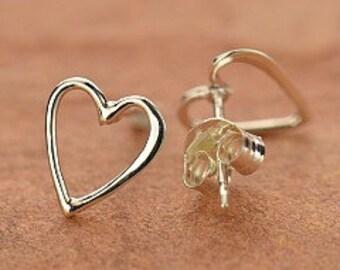 Sterling silver Heart post earrings / Tiny Open Heart earrings