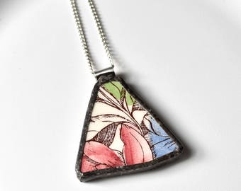 Broken China Jewelry Pendant - Red Blue and Green Flower