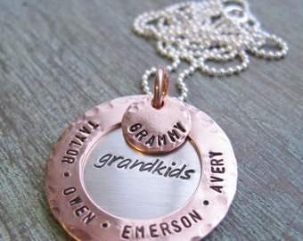 Personalized Grandmother Necklace, Family Jewelry, Mother's Day Gift, Hand Stamped, Grandma, Nana, Mother
