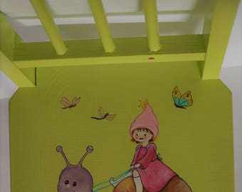baby wooden chair painted Pixie granny Apple green background and snail decor handmade