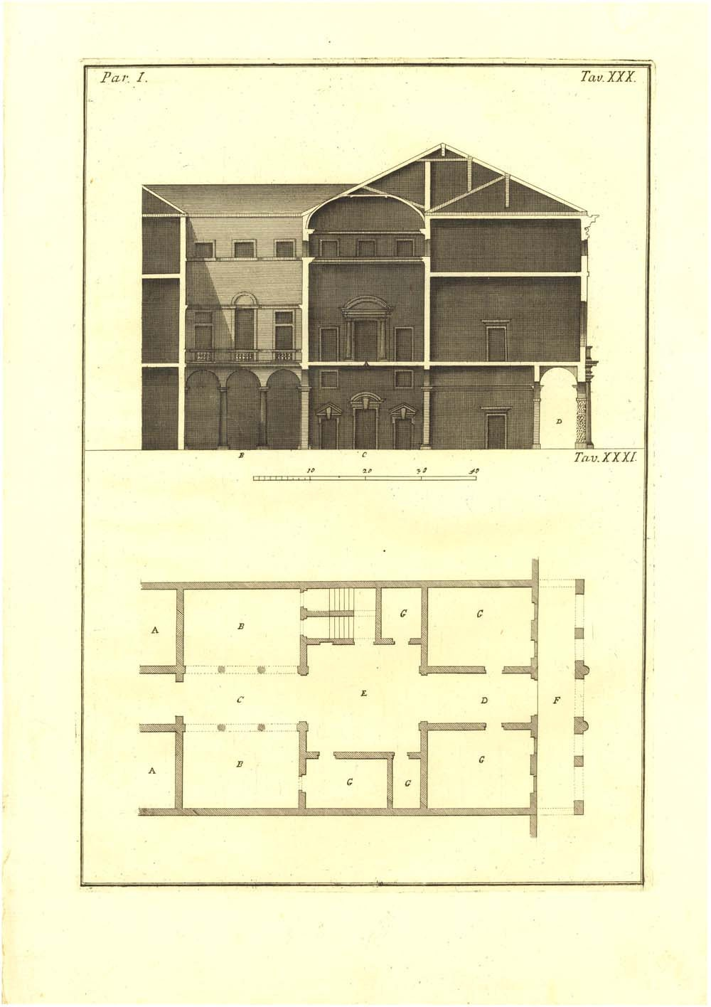 1760 Architectural Print Palladio House of Ettore Abriani Drawing by Muttoni