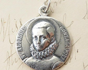 St Aloysius Gonzaga Medal - Patron of teenagers, Jesuit students and AIDs patients - Sterling Silver Antique Replica